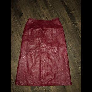 Vintage Vakko Genuine Leather Pencil Skirt